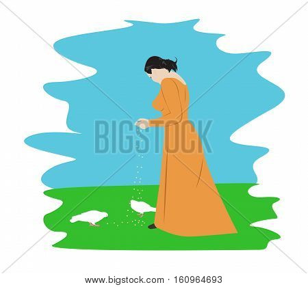 Young girl in a long dress feeding pigeons. Cartoon vector illustration