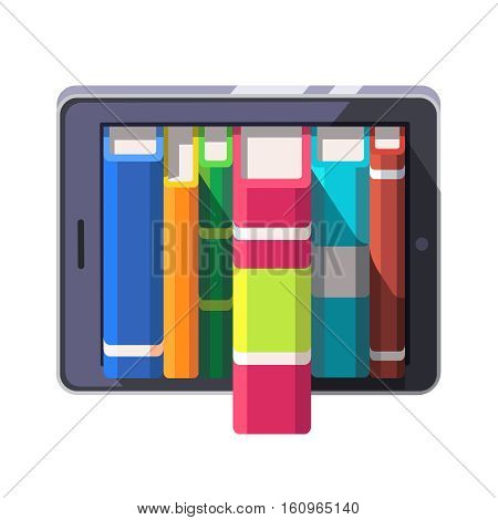 Books library shelve concept on a tablet computer or e-reader. Flat style modern vector illustration isolated on white background.