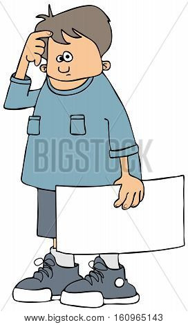 Illustration of a boy with a puzzled expression holding a blank sign.
