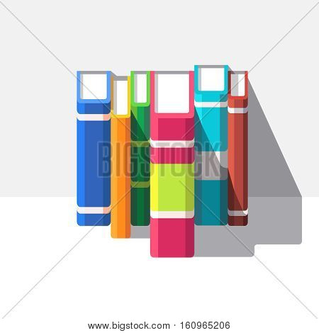 Books standing o a white shelve. Flat style modern vector illustration isolated on white background.