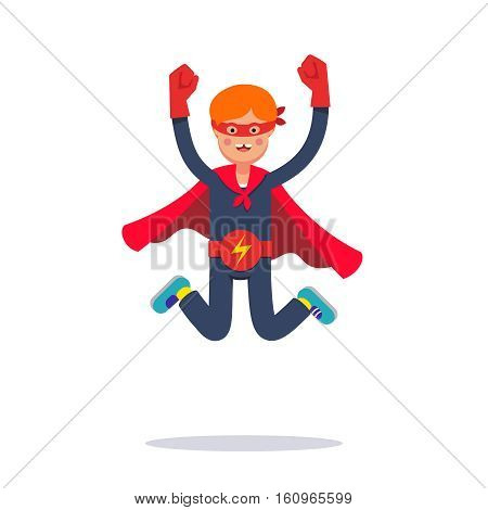 Young superhero boy. Kid playing cosplay with improvised costume, cape, mask and belt pretending to be super hero electric human. Flat style modern vector illustration isolated on white background.