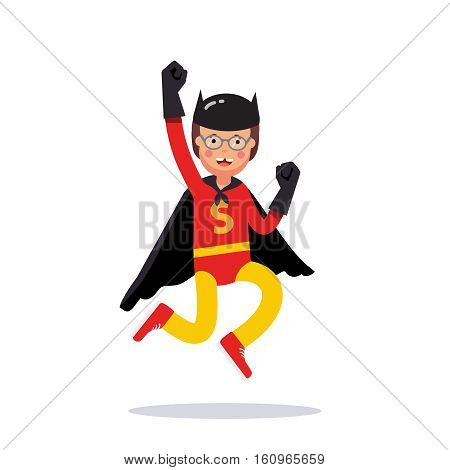 Young superhero boy. Kid playing cosplay with his improvised costume black cape, gloves and mask pretending to be super hero dark knight bat human. Flat style vector illustration on white background.