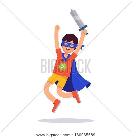 Young superhero boy. Kid playing cosplay with his improvised costume, cape, sword and mask pretending to be super hero knight. Flat style modern vector illustration isolated on white background.