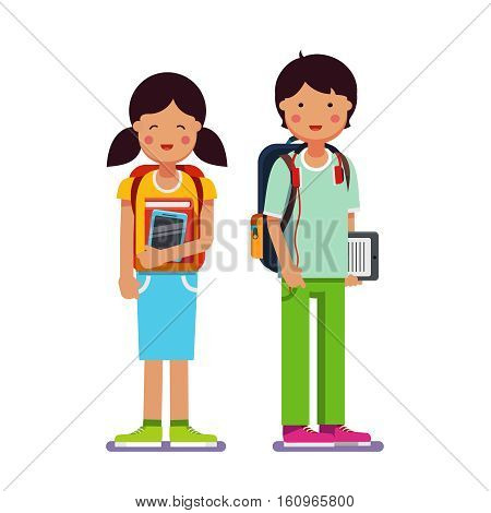 Brother and sister school or collage students standing together wearing backpacks holding books, textbooks and tablet computers. Flat style modern vector illustration isolated on white background.