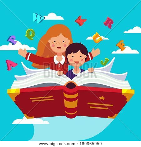 Boy and girl student and preschooler flying in the sky together on a magical primer ABC book. Knowledge power concept. Flat style modern vector illustration.