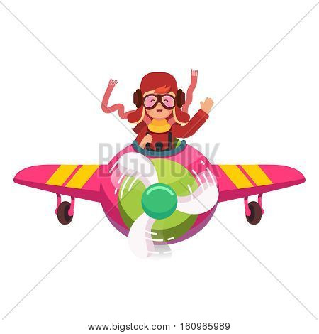 Happy smiling kid flying plane like a real pilot in retro leather flight helmet, scarf and googles. Learning alphabet and dreaming of aviator profession. Flat style modern vector illustration.