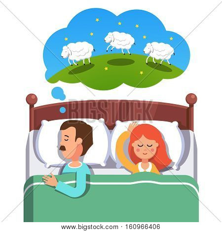 Young couple sleeping in their bed. Husband trying to fight insomnia by counting jumping sheep while his wife is peacefully slumbering. Flat style vector illustration isolated on white background.