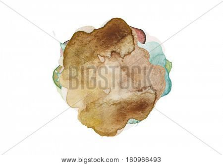 Abstract color watercolor blots background. Isolated.