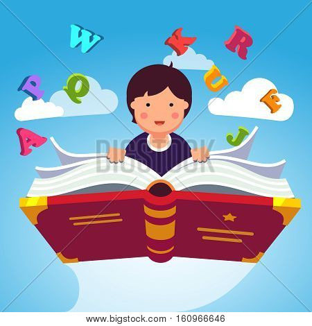 Boy student or preschooler flying in the sky on a magical primer ABC book. Knowledge power concept. Flat style modern vector illustration.