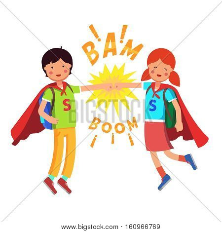 Heroes Super School Students kids making fist bump. Boy and girl flying with their capes and full backpacks. Flat style modern vector illustration isolated on white background.