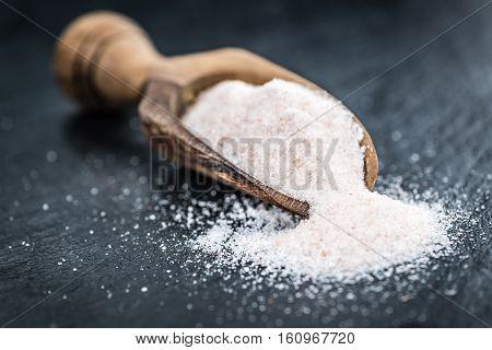 Pink Salt On A Slate Slab (selective Focus)