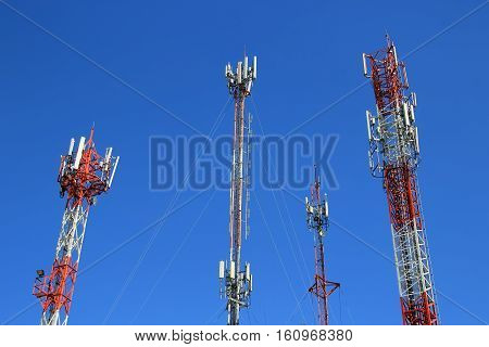 4G Cell site radio towers or mobile phone base station