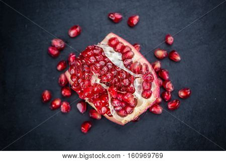 Portion Of Pomegranate Seeds (selective Focus)