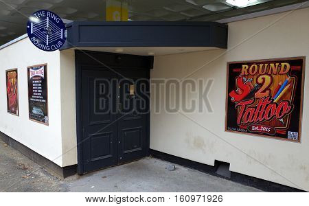 Bracknell,England - December 03, 2016: Entrance to The Ring Boxing Club and Round 2 Tattoo Parlor in Bracknell, England