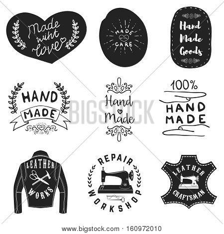 Handmade products labels. Leather workshop emblems. Design elements for logo, sign, brand mark. Vector illustration.