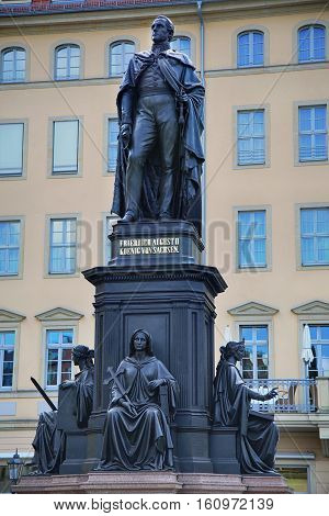 Monument of Friedrich August King of Saxony at Neumarkt in Dresden Germany