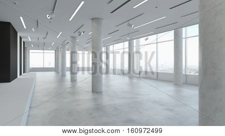 Empy office space in white urban loft (3D Rendering)