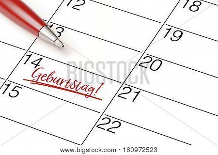 pen marking date in German saying