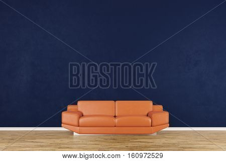 Living room with sofa in front of a blue wall (3D Rendering)