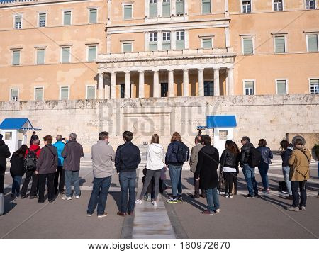 Tourists Watching The Presidential Guards In Athens