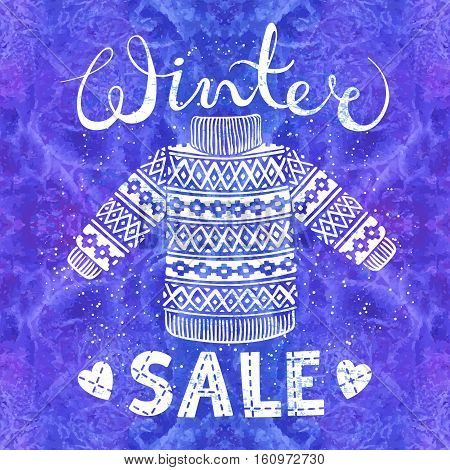 Winter Special banner, label with knitted woolen pullover or sweater on watercolor background. Business seasonal shopping concept sale. Isolated vector illustration.