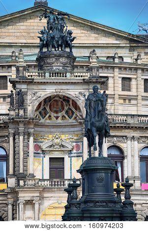 Statue of King Johann and Semperoper opera (Staatskapelle Dresden) at Theaterplatz in Dresden State of Saxony Germany