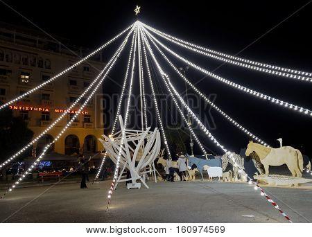 Thessaloniki, Greece - December 11 2016: Christmas Decorations At City Center.