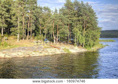 Camp tourist destination on the island on Lake Ladoga