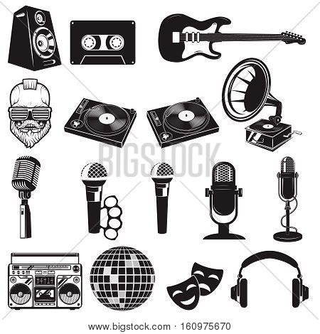 Set of retro party elements. Music instruments isolated on white background. Microphones icons. Design elements for logo, label, emblem, sign, brand mark. Vector illustration.