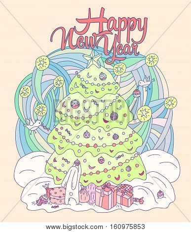 Gift card Xmas theme. Happy New Year illustration - Hare and birds adorn the Christmas tree. Vector