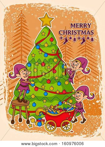 vector illustration of elf decorating tree for Merry Christmas