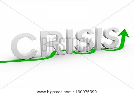to overcome the crisis white background  3d illustration