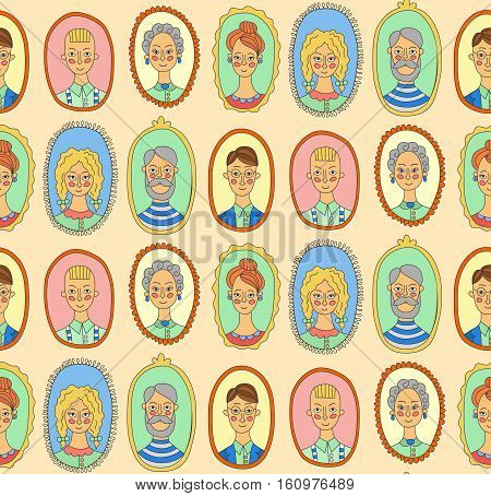 Colorful cute people family characters doodle portraits wall seamless vector pattern