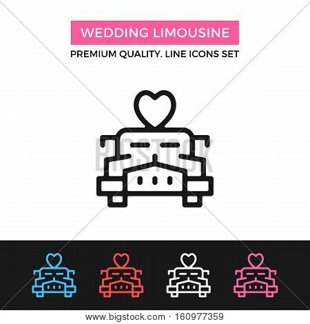 Vector wedding limousine icon. Limo car with heart on roof concept. Premium quality graphic design. Signs, outline symbols, simple thin line icons set for website, web design, mobile app, infographics