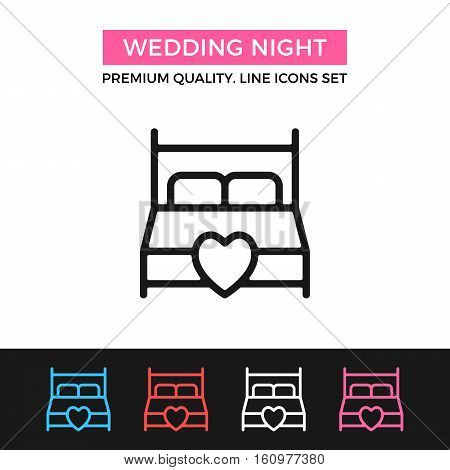 Vector wedding night icon. King size bed with heart. Premium quality graphic design. Signs, outline symbols collection, simple thin line icons set for websites, web design, mobile app, infographics