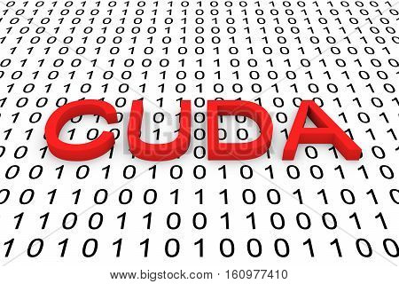 CUDA in the form of binary code, 3D illustration