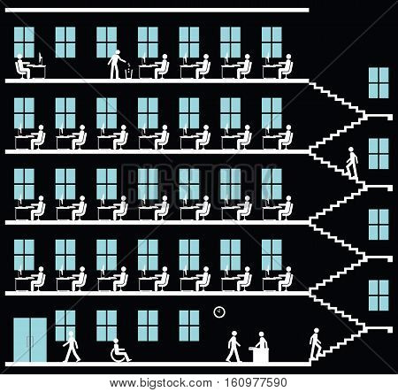 Monochrome representation of employees working at their desk in an office block on  black background