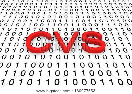 CVS system as binary code 3D illustration