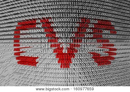 CVS information as binary code 3D illustration