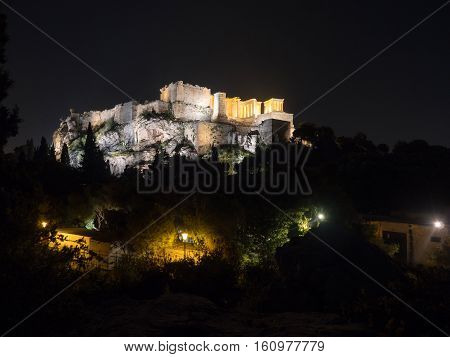 Acropolis Hill With Parthenon In Athens Greece