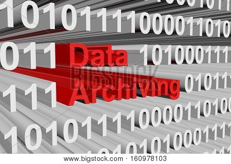 data archiving is presented in the form of binary code 3d illustration