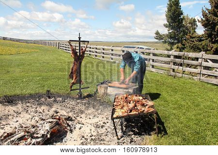PUNTA ARENAS, CHILE-NOV. 13, 2016: On an estancia in Patagonia, not far from Punta Arenas, a gaucho barbecues lamb over and open fire and carves it in preparation of a meal.