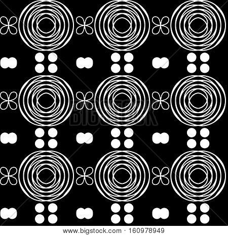Seamless rarefied pattern of tribal african ornament consisting of swirls and dots. In black and white colors. Graphical hand drawn background. Vector illustration