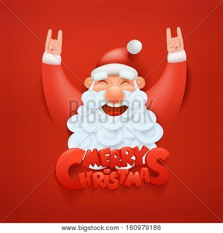 Santa claus character making hard rock sign Merry christmas title Vector illustration