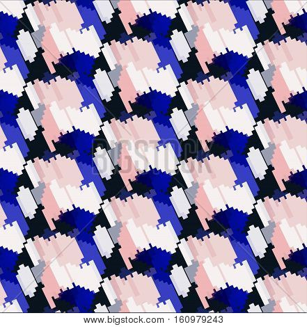 Seamless fashionable geometric pattern in blue and pink color style. Camoflage background pattern.Vector illustratrion.