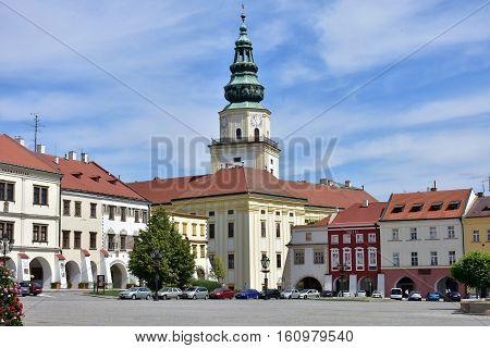 Bishop's Palace in the main square of Kromeriz city in Moravia, Czech Republic