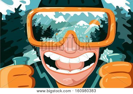 Cartoon portrait of a mountain skier with mask . Face view