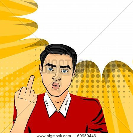 Attractive brunette man gesture hand middle finger, fuck pop art style vector. Sound comic bubble speech phrase cartoon text effects. Template balloon. Comics book background