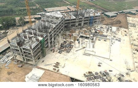 Construction site, construction machinery, bulldozer, excavation, factory, building, workers