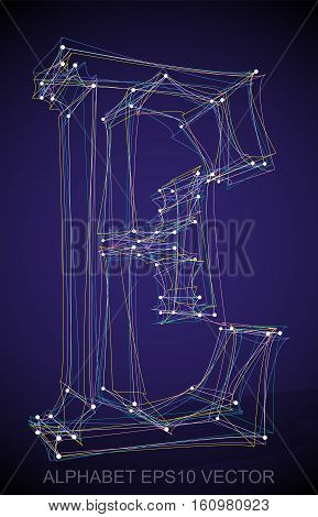 Abstract illustration of a Multicolor sketched E with Transparent Shadow. Hand drawn 3D E for your design. EPS 10 vector illustration.